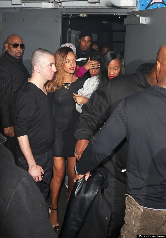 Superstar Rihanna leaves the Playhouse nightclub with a group of female friends, in Hollywood Blvd in a sheer see-through dress