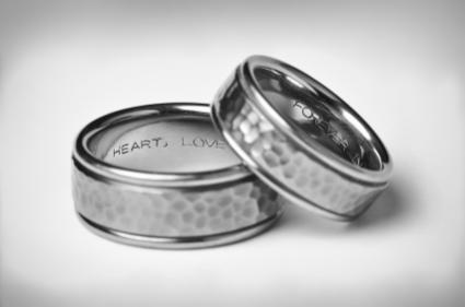 141817-425x281-Two-Titanium-Silver-Wedding-Bands-On-White