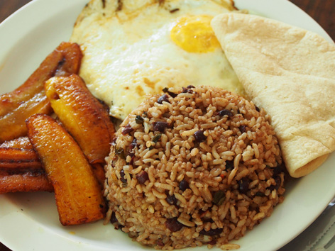 plate of typical Costa Rican breakfast, gallo pinto, eggs, tortilla.