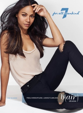 Zoe Saldana Is The Right Fit For All 7 Mankind New Denim